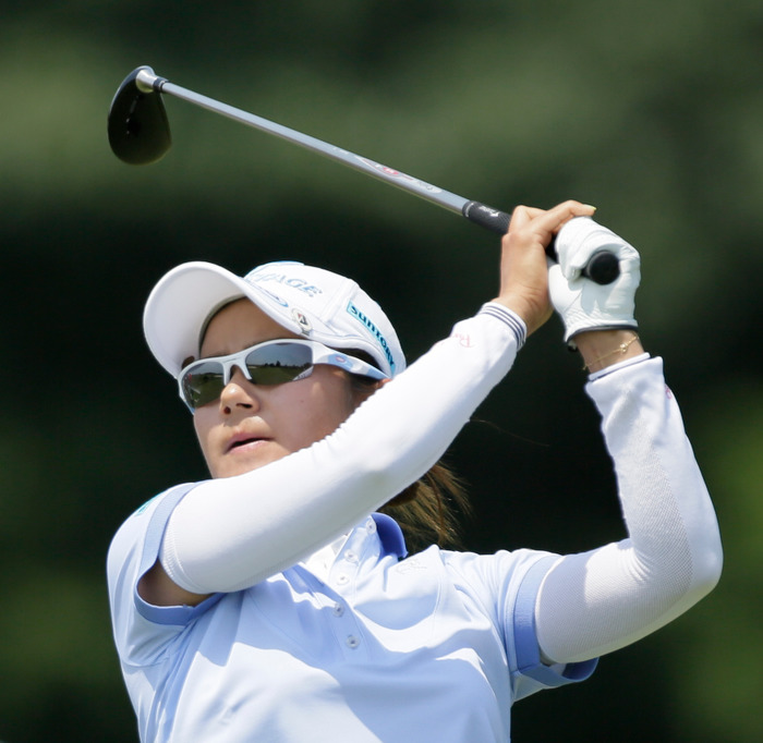 AI Miyazato of Japan watches her shot from the eigth tee during the U.S. Women's Open golf tournament at Blackwolf Run in Kohler, Wisconsin July 5, 2012. REUTERS/John Gress