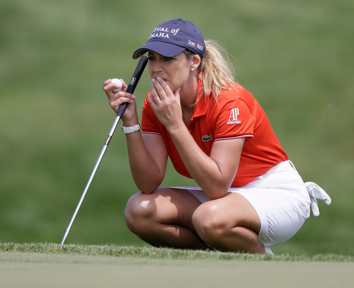 Cristie Kerr of the U.S. lines up a putt on the second green during the third round at the U.S. Women's Open golf tournament at Blackwolf Run in Kohler, Wisconsin July 7, 2012. REUTERS/John Gress