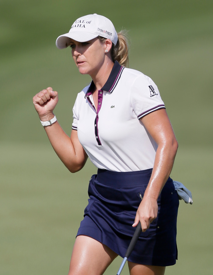Cristie Kerr of the United States reacts to sinking a birdie putt on the third green during the second round of the U.S. Women's Open golf tournament at Blackwolf Run in Kohler, Wisconsin, July 6, 2012. REUTERS/John Gress