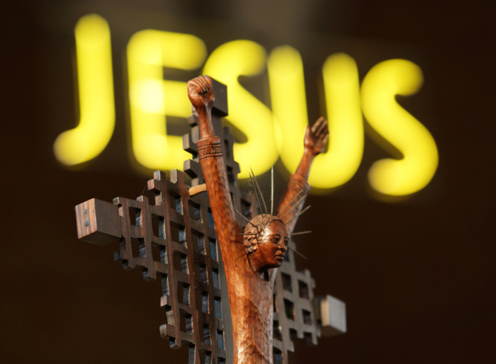 A small statue depicting Jesus can be seen at St. Sabina Catholic Church during the predominantly African-American congregation's Unity Mass in Chicago, September 2, 2012. REUTERS/John Gress