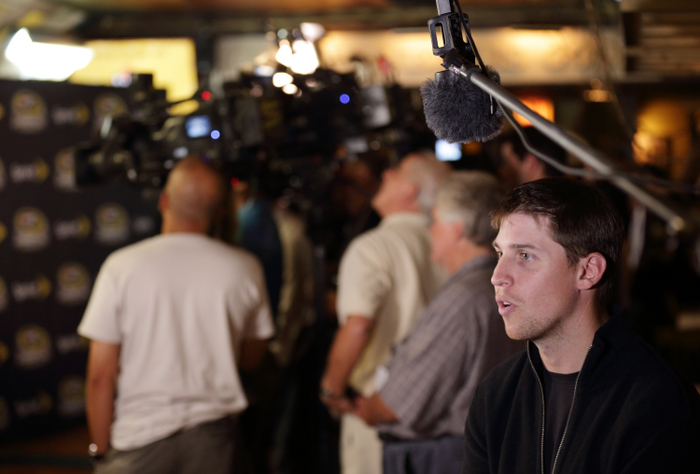 CHICAGO, IL - SEPTEMBER 12:  Driver Denny Hamlin speaks during an interview at the Chase for the NASCAR Sprint Cup Media Day at the House of Blues September 12, 2012 in Chicago, Illinois.  (Photo by John Gress/Getty Images for NASCAR) *** Local Caption *** Denny Hamlin