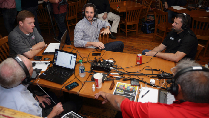 CHICAGO, IL - SEPTEMBER 12:  Jimmie Johnson and Tony Stewart speak during a radio interview at the Chase for the NASCAR Sprint Cup Media Day at the House of Blues September 12, 2012 in Chicago, Illinois.  (Photo by John Gress/Getty Images for NASCAR) *** Local Caption *** Jimmie Johnson;Tony Stewart