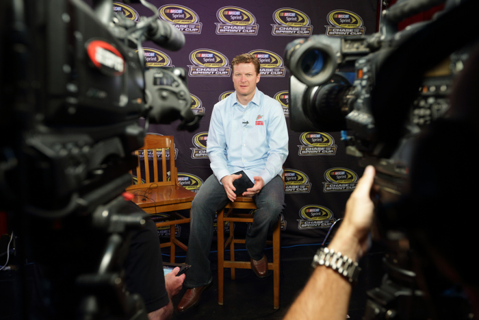 CHICAGO, IL - SEPTEMBER 12:  Driver Dale Earnhardt Jr. speaks during an ESPN interview at the Chase for the NASCAR Sprint Cup Media Day at the House of Blues September 12, 2012 in Chicago, Illinois.  (Photo by John Gress/Getty Images for NASCAR) *** Local Caption *** Dale Earnhardt Jr.