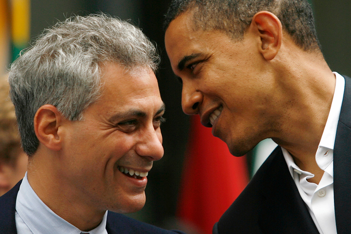 Presumptive Democratic presidential nominee Senator Barack Obama (D-IL) (R) speaks with Representative Rahm Emanuel (D-IL) during a Chicago 2016 Olympics rally June 6, 2008.