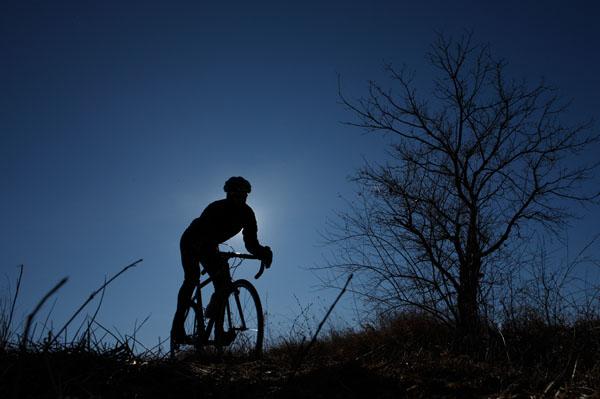 Christian Vande Velde rides his bike in Lemont, Illinois, January 5, 2009.