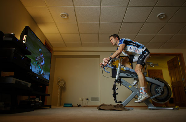 For Procycling Magazine - Christian Vande Velde rides a trainer in the basement of his Lemont, Illinois home, January 6, 2009. John Gress / for Pro Cycling Magazine