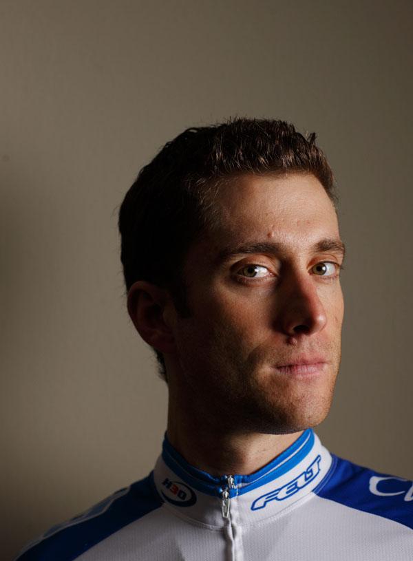 Christian Vande Velde poses for  portrait in his Lemont, Illinois home, January 6, 2009. John Gress / for Procycling Magazine