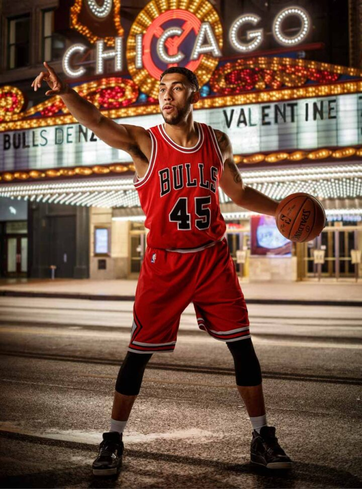 chicago bulls denzel valentine poses for a portrait by LA photographer John Gress