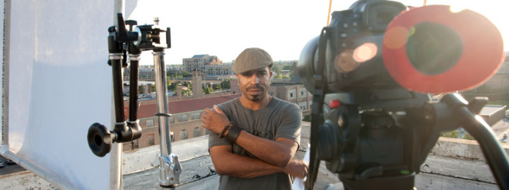 Chicago soul singer poses for a portriat during a music video shoot