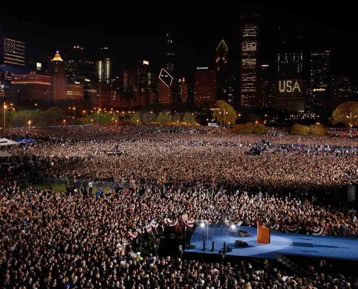 Chicago Political Photographer John Gress:: U.S. President-elect Barack Obama during his election night rally in Chicago, November 4, 2008.
