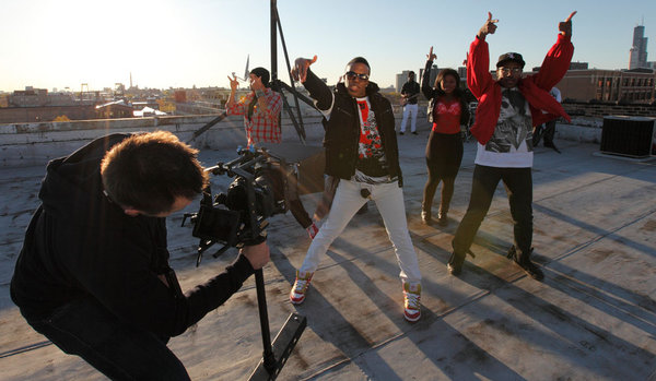 Music video director uses steadycam while shooting a dance video in Chicago