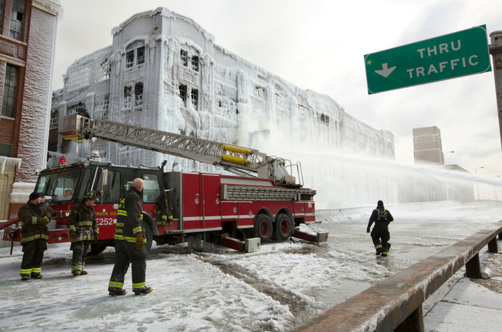 Chicago Firefighters continue to battle a warehouse fire for a third day in Chicago
