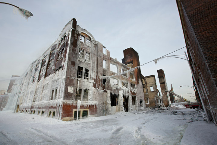 The ruins of a warehouse that started burring in Chicago Tuesday are seen January 24, 2013