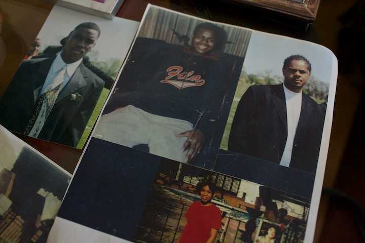 Family photographs are arranged to show, clockwise from top left; Ronnie Chambers at his brother Jerome's funeral in July 2000, Carlos Chambers, Jerome Chambers and LaToya Chambers, at the home of their mother Shirley Chambers in Chicago, Illinois, January 30, 2013. Shirley Chambers had four children - three boys and a girl. Now they're all gone. Chambers will bury Ronnie on Monday. He was the last of the single mother's children - all victims of gun violence in Chicago over a period of 18 years. REUTERS/John Gress