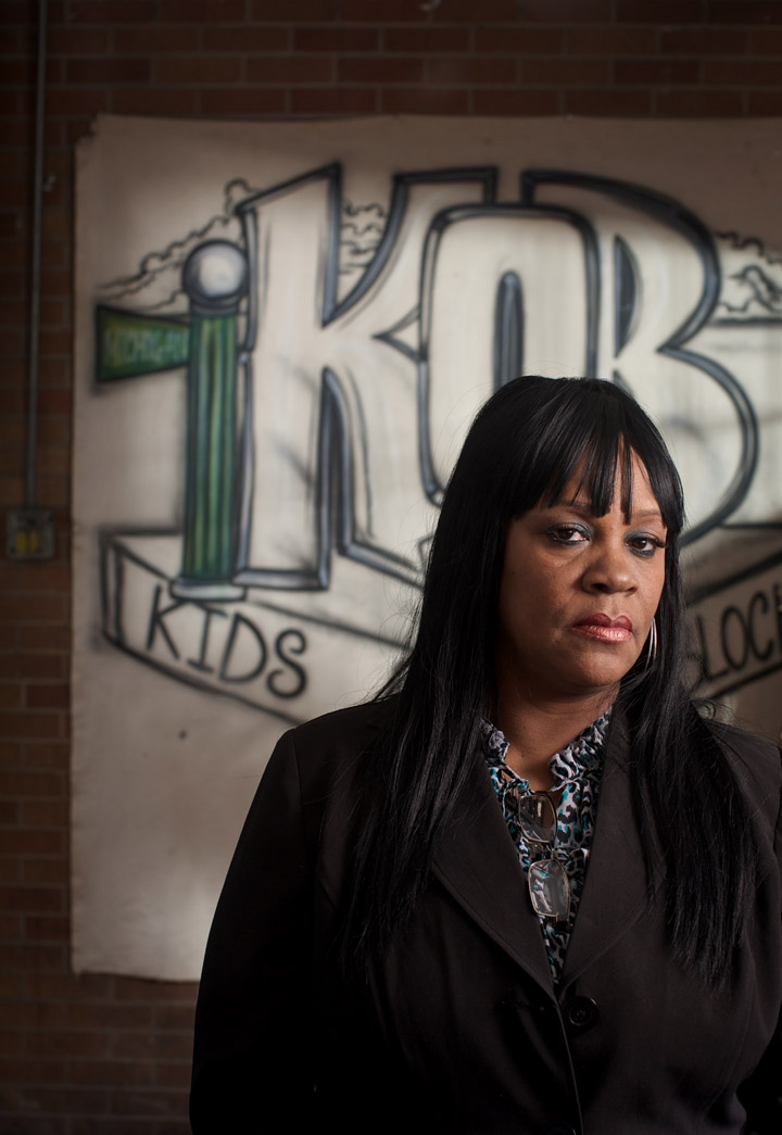Activist Diane Latiker poses for a portrait in her Chicago office. There is a troubled neighborhood on the south side of Chicago that shaped much of Obama's fervor on gun control--even before he was elected to the state Senate. A profile of Roseland, which has been hit hard in the recent surge in murders in Chicago, and how it affected Obama's views. A profile of the neighborhood and efforts to curb violence there. Photo by John Gress, Freelance