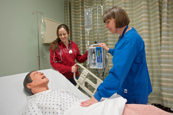 Harper College Instructor Jennifer Kittler talks with nursing student Delia Nedeleanu about providing a patient with a pain management pump in the community colleges virtual hospital in Palatine, Illinois, February 21, 2013. REUTERS/John Gress (UNITED STATES)