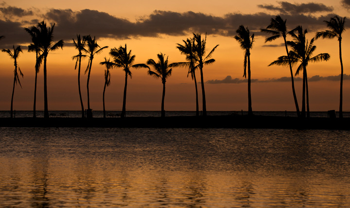 The sunsets in Waikoloa, Hawaii, March 2, 2013,