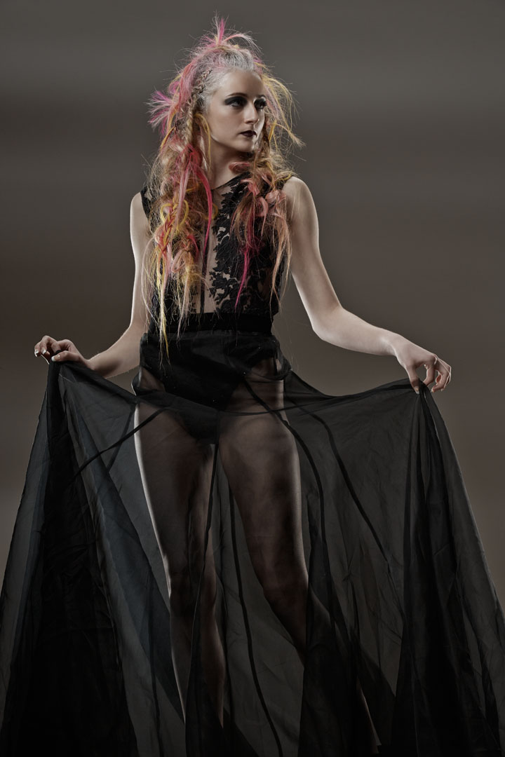 hair model on set in studio by Chicago Fashion Photographer John Gress