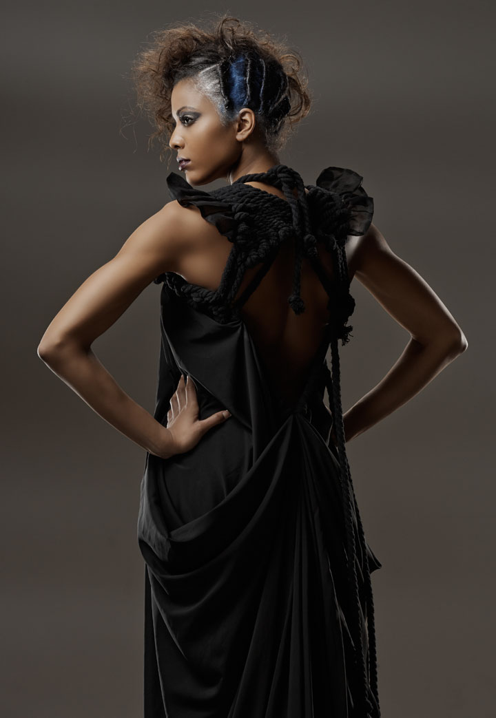 African American hair model onset in Chicago Fashion Photographer studio