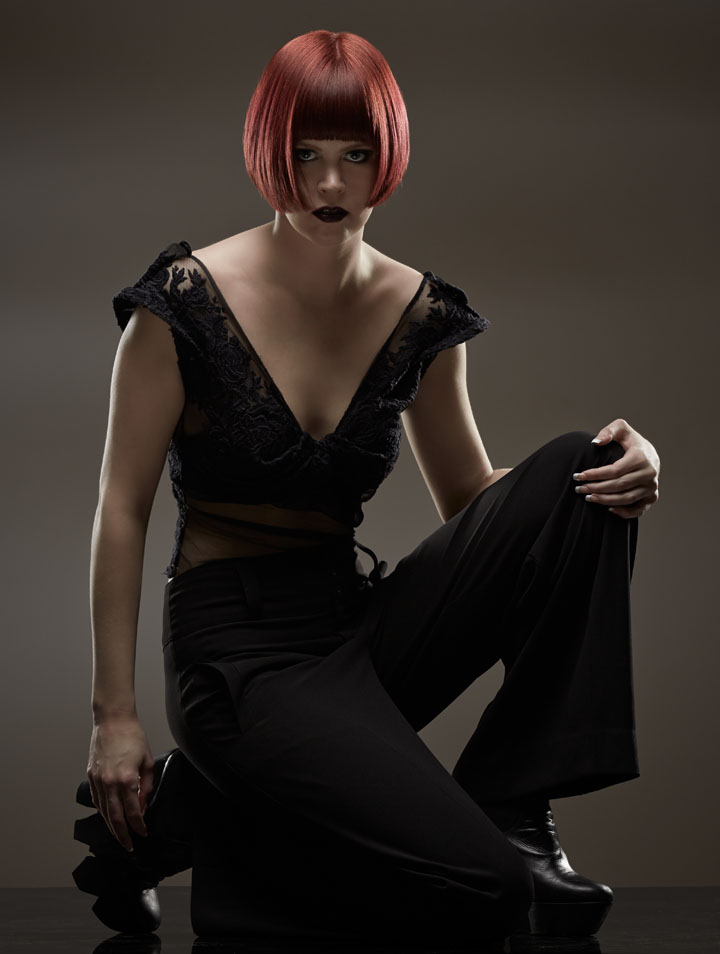 studio model with red wig by Chicago Fashion Photographer John Gress
