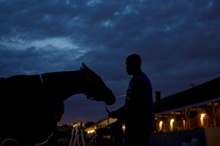Kentucky Derby hopeful Verrazano stands with his groom after early morning workouts at Churchill Downs in Louisville, Kentucky, May 3, 2013. REUTERS/John Gress