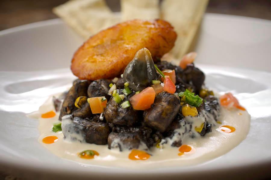 Sweet Plantain Infused Gnocchi – Mexican truffle, crispy plantain, potato gnocchi, corn, green onion, tomato, cilantro, creamy wine sauce