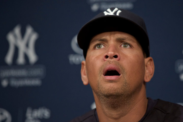 New York Yankee Alex Rodriguez  pauses during a press conference in Chicago, August 5, 2013. REUTERS/John Gress (UNITED STATES)
