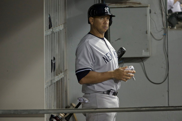 New York Yankee's Alex Rodriguez prepares to bat against the Chicago White Sox in the fifth inning of their American League MLB game in Chicago, August 5, 2013. REUTERS/John Gress (UNITED STATES)