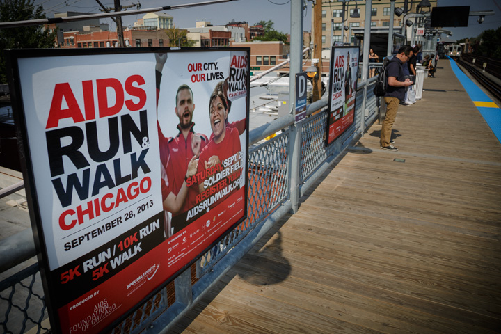 Chicago sports advertising Photography charity fundraiser on CTA