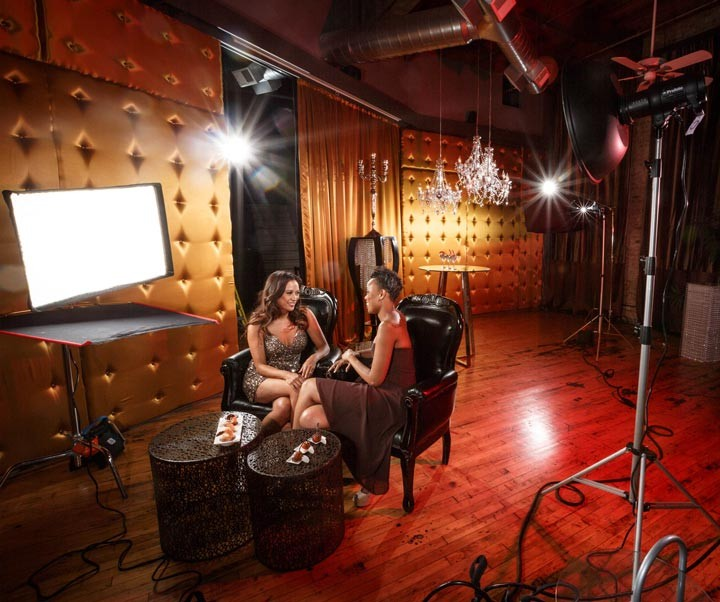 Chicago Nightlife Advertising Campaign behind the scenes with profoto lights