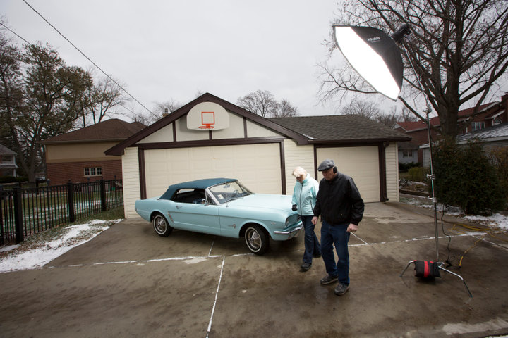 Tom and Gail Wise pose with her Skylight Blue 1964 1/2 Ford Mustang convertible in Park Ridge, Illinois