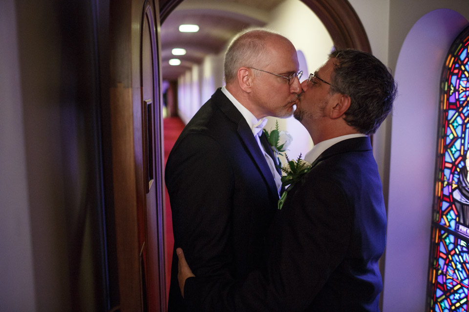 Couple Kisses after their LGBT wedding in Chicago