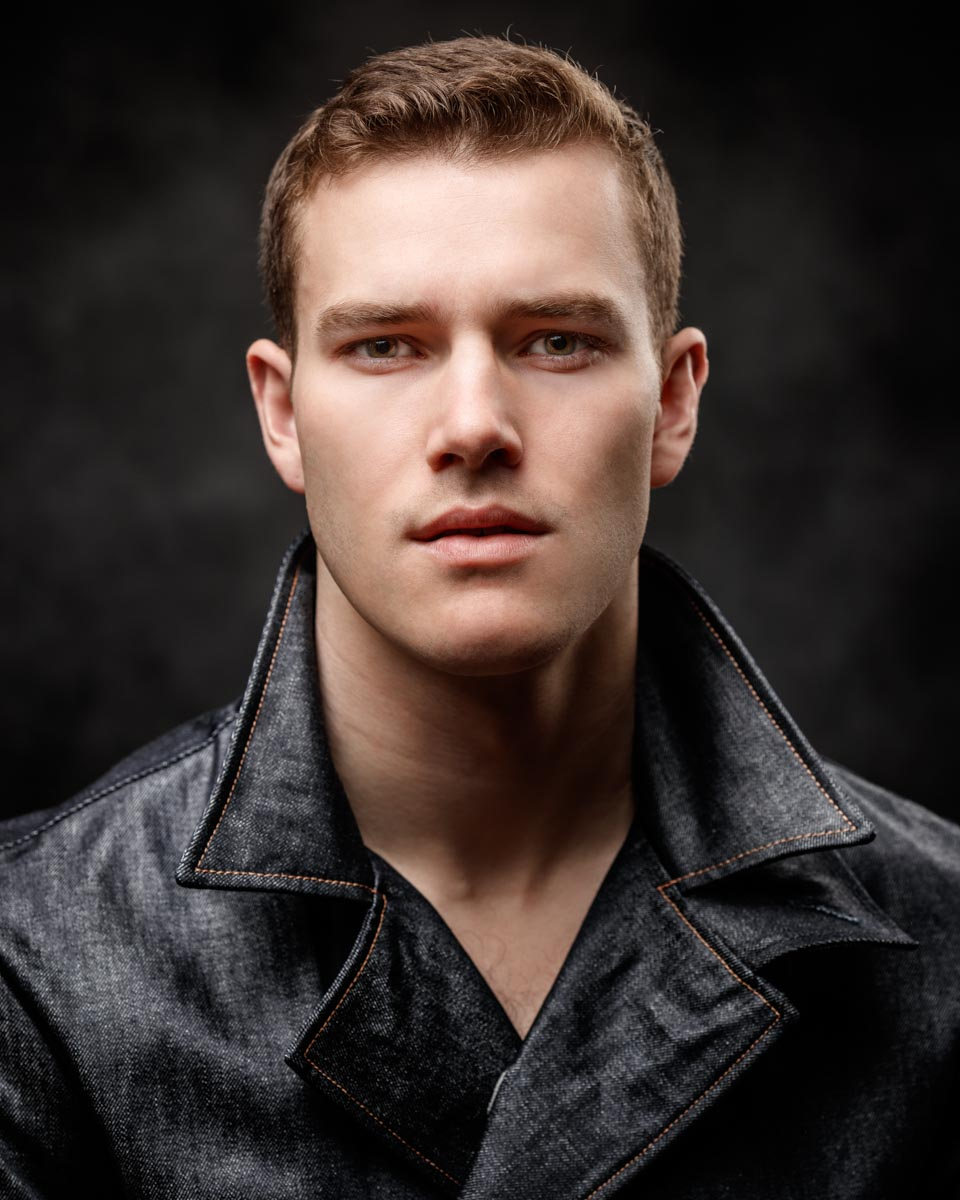 headshot of chicago model Jefferson West by photographer John Gress