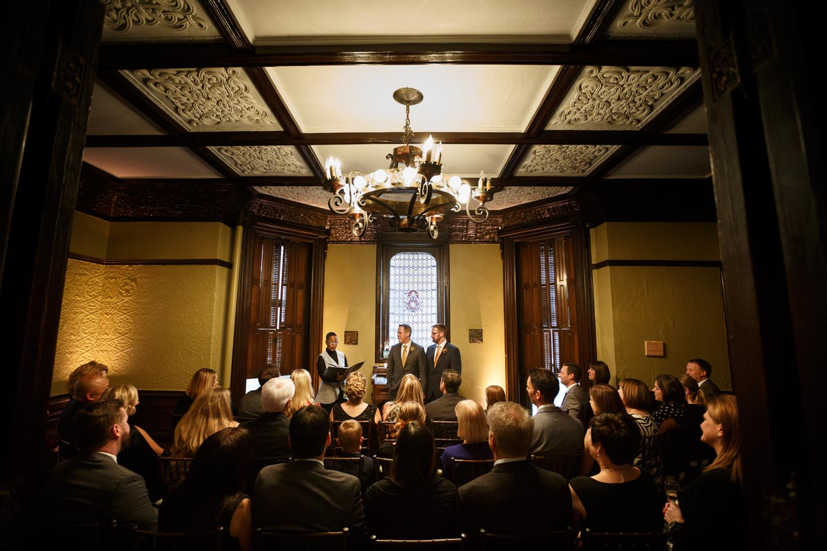 Chicago same-sex wedding photography of a gay wedding ceremony at the Keith House