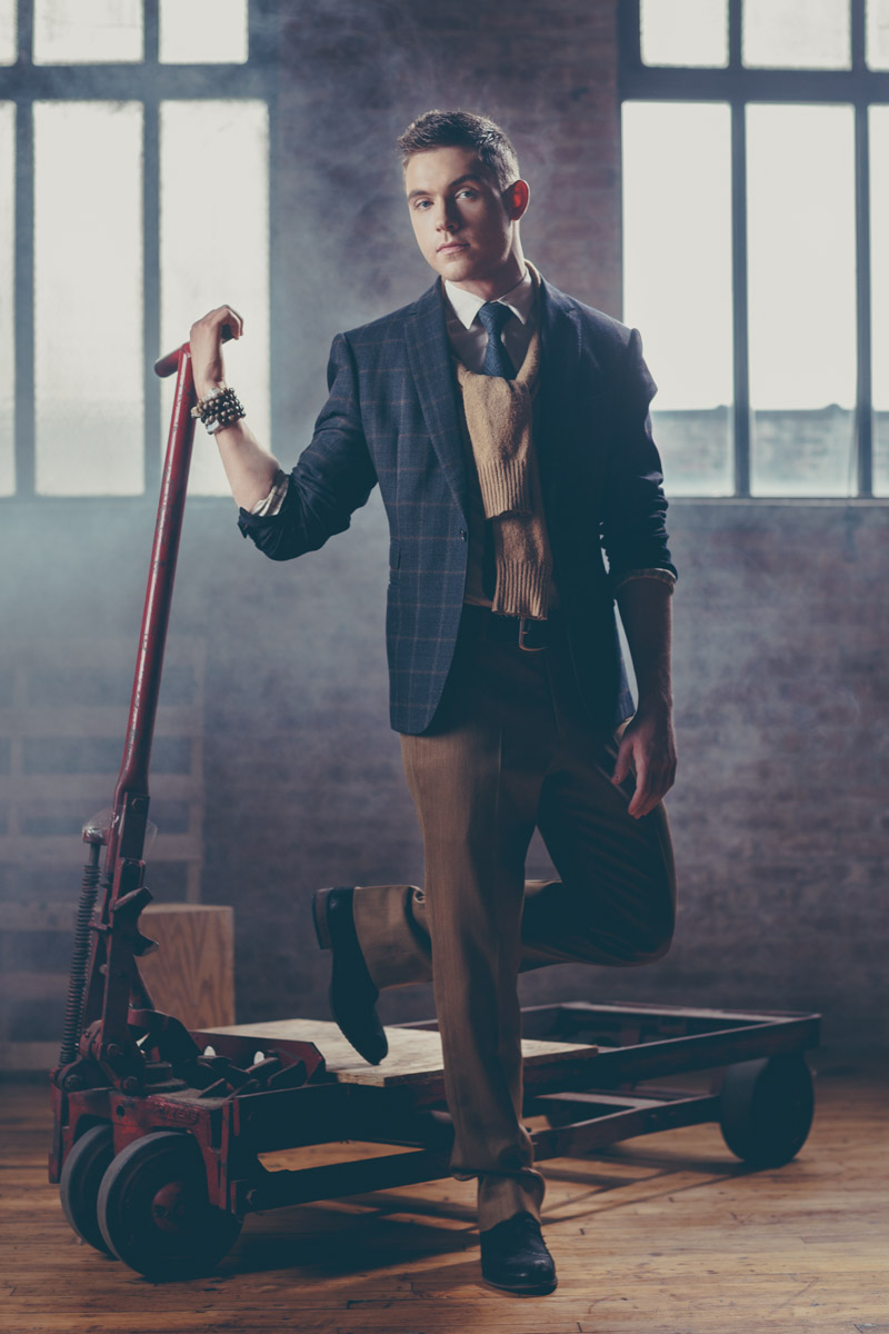 Chicago Fashion Photography male model foggy warehouse hazy vintage by photographer John Gress