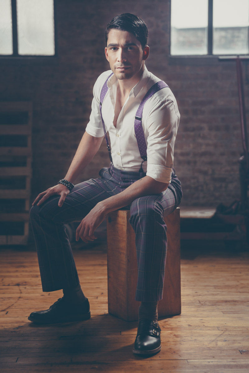 Chicago Fashion Photography male model suspenders headshot warehouse by photographer John Gress