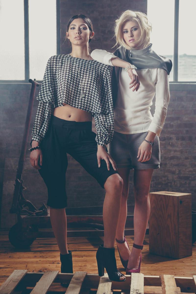 Chicago Fashion Photographer two female models warehouse photoshoot