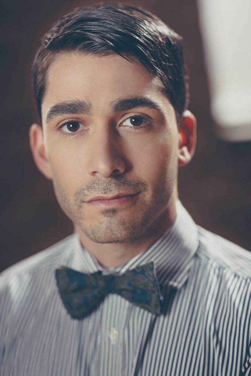 Chicago Fashion Photographer headshot male model bow tie