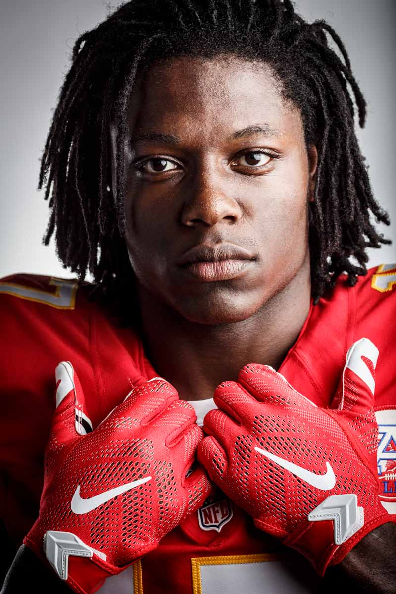 Editorial portrait photography of Kansas City Chiefs Chris Conley by Chicago Photographer John Gress