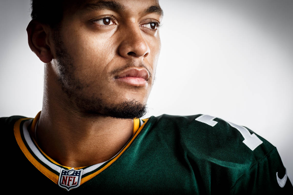 Editorial portrait photography of Green Bay Packers Brett Hundley by Chicago Photographer John Gress