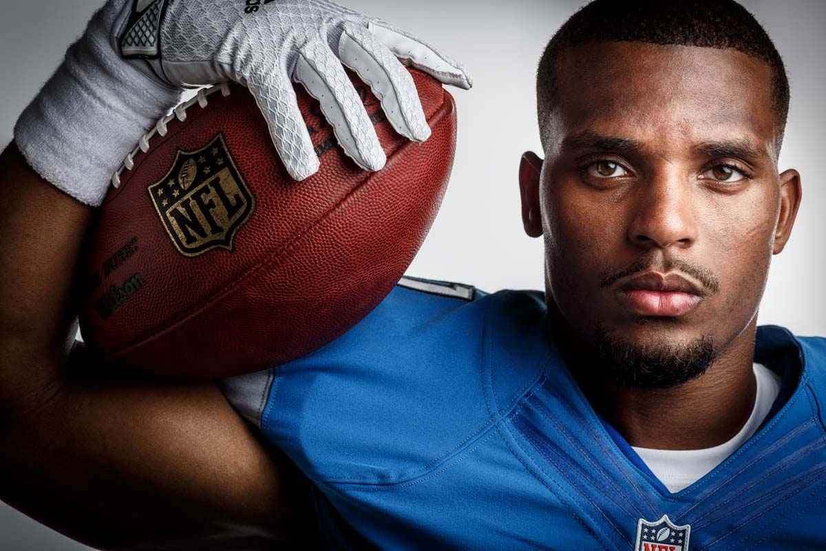 Editorial portrait photography of Detroit Lions Ameer Abdullah by Chicago Photographer John Gress