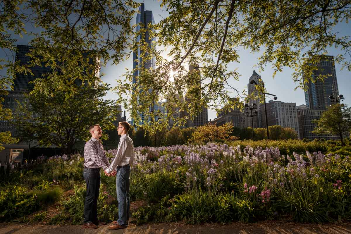 Illinois LGBT Wedding Photography engagement session with couple with the chicago skyline