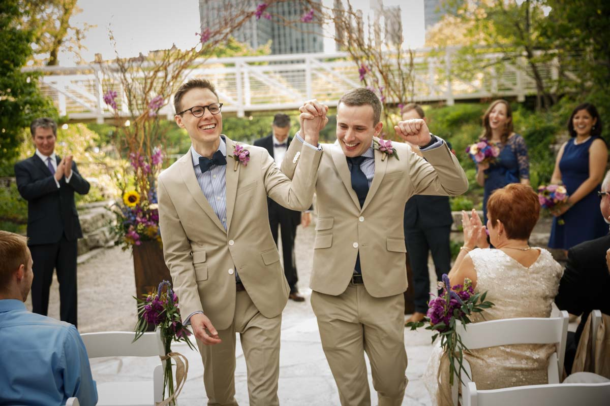 Illinois LGBT Wedding Photography gay couple at the Peggy Notebaert Nature Museum in Chicago