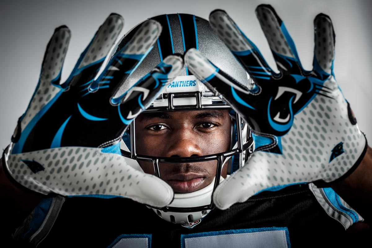 Editorial portrait photography of Carolina Panthers Devin Funchess by Chicago Photographer John Gress
