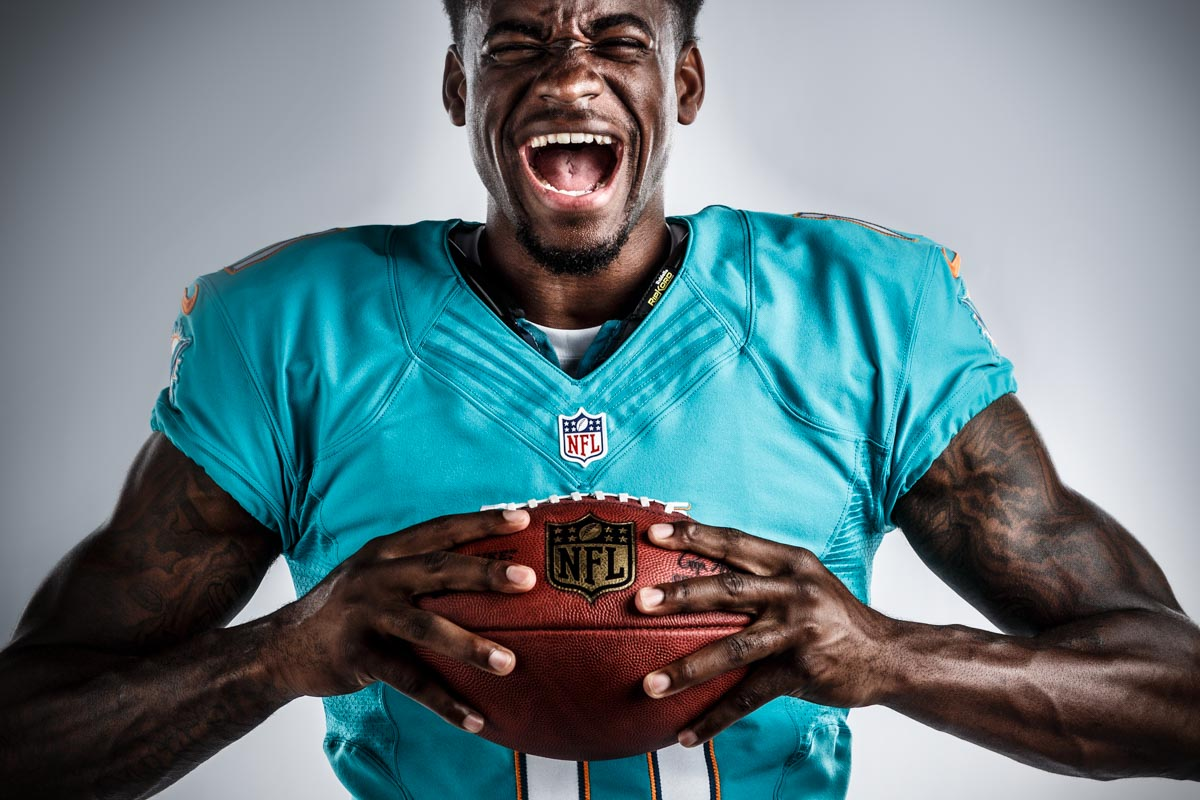 Editorial portrait photography of Miami Dolphins Devante Parker by Chicago Photographer John Gress