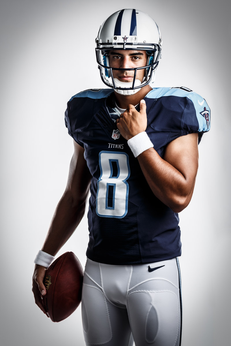 Editorial portrait photography of Tennessee Titians Marcus Mariota by Chicago Photographer John Gress