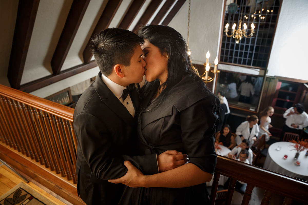 Chicago Suburbs Lesbian Wedding Photographer couple kiss after wedding ceremony in Glenview