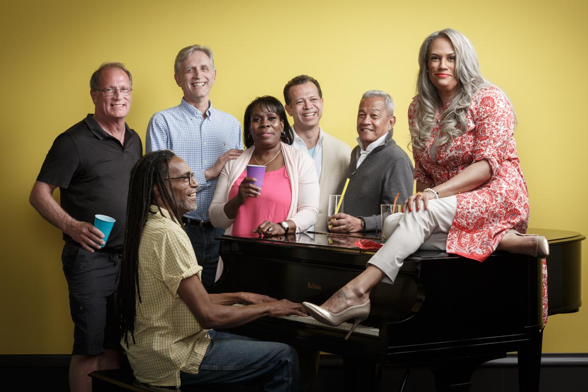 Chicago Magazine Photographer group photo on a piano