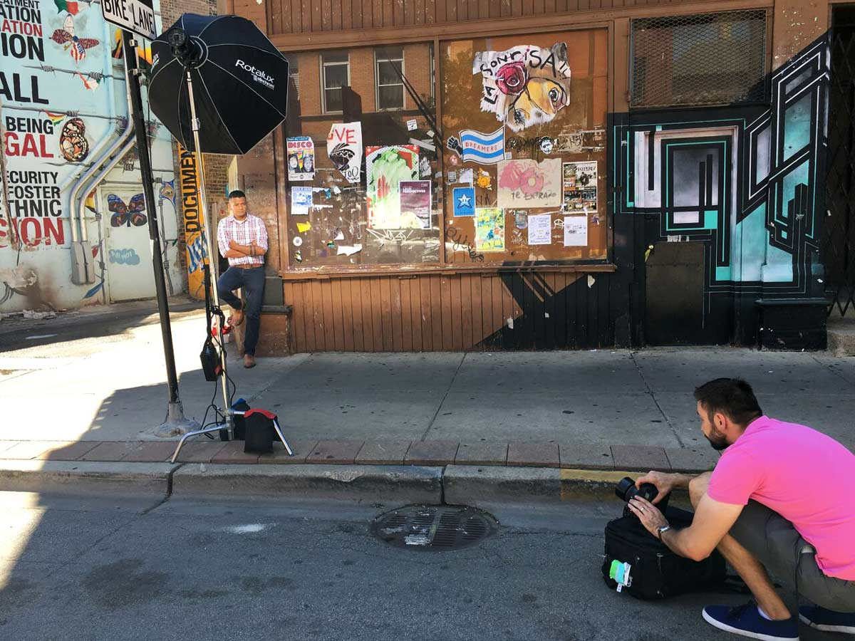 Behind the scenes Magazine photoshoot while shooting Beto Soberanis for Positively Aware in Chicago