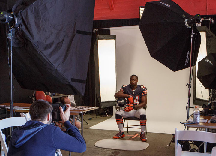 chicago bears Jordan Howard poses for a portrait by LA photographer John Gress